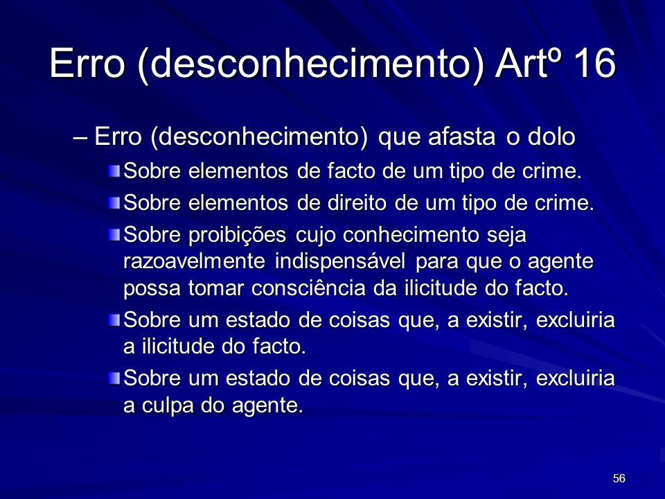 56 Erro (desconhecimento) Artº 16 –Erro (desconhecimento) que afasta o dolo Sobre elementos de facto de um tipo de crime. Sobre elementos de direito d