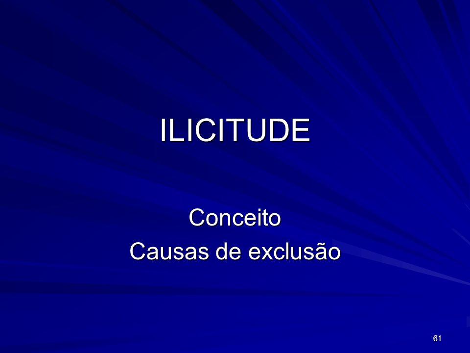 61 ILICITUDE Conceito Causas de exclusão