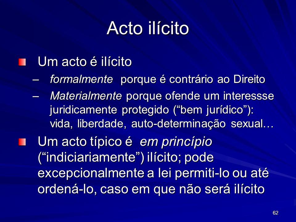62 Acto ilícito Um acto é ilícito –formalmente porque é contrário ao Direito –Materialmente porque ofende um interessse juridicamente protegido (bem j