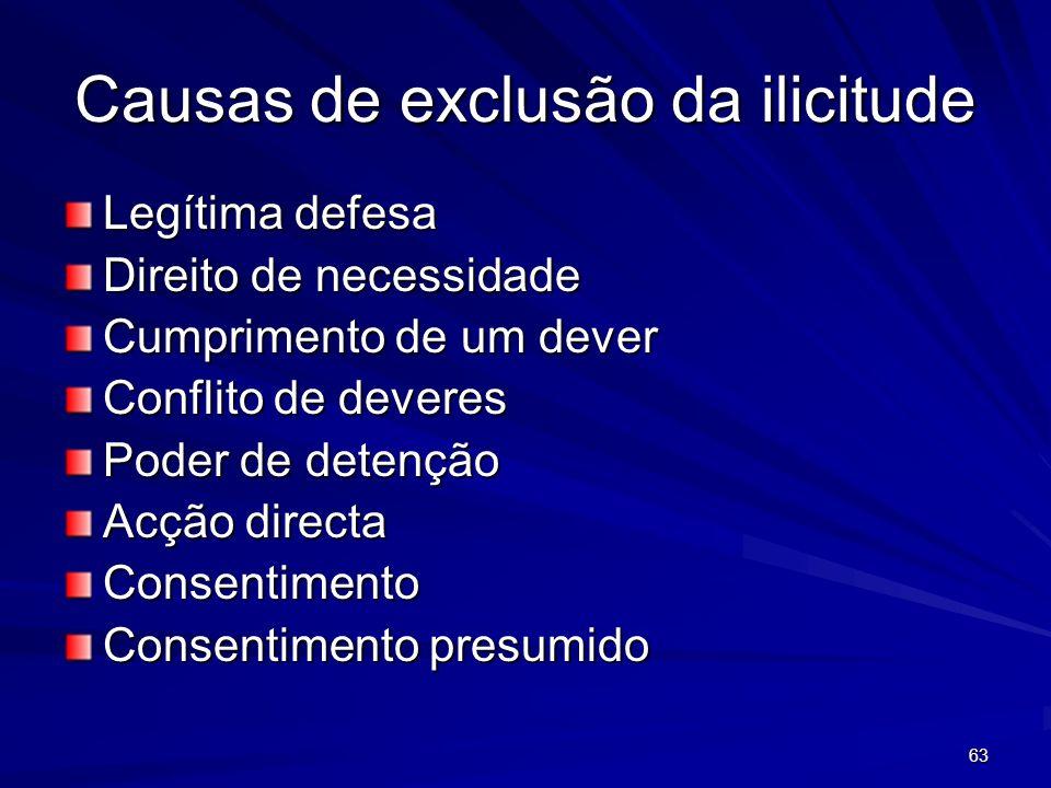 63 Causas de exclusão da ilicitude Legítima defesa Direito de necessidade Cumprimento de um dever Conflito de deveres Poder de detenção Acção directa