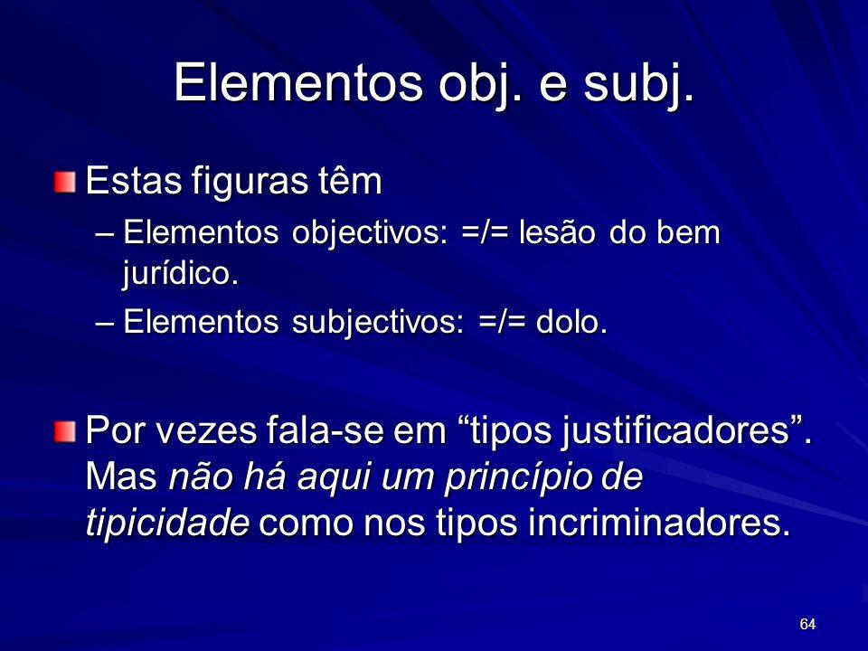 64 Elementos obj. e subj. Estas figuras têm –Elementos objectivos: =/= lesão do bem jurídico. –Elementos subjectivos: =/= dolo. Por vezes fala-se em t