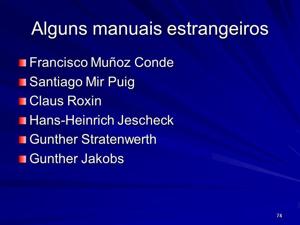 74 Alguns manuais estrangeiros Francisco Muñoz Conde Santiago Mir Puig Claus Roxin Hans-Heinrich Jescheck Gunther Stratenwerth Gunther Jakobs