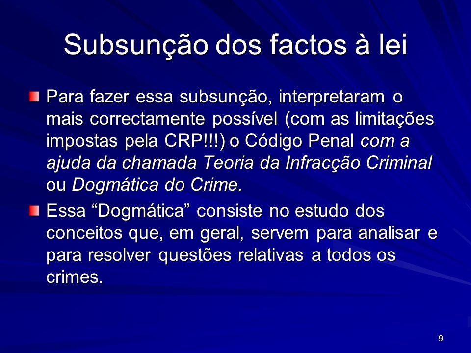 9 Subsunção dos factos à lei Para fazer essa subsunção, interpretaram o mais correctamente possível (com as limitações impostas pela CRP!!!) o Código