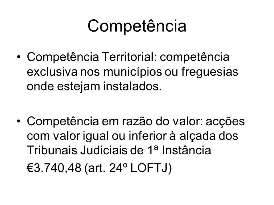 Competência Competência Territorial: competência exclusiva nos municípios ou freguesias onde estejam instalados. Competência em razão do valor: acções
