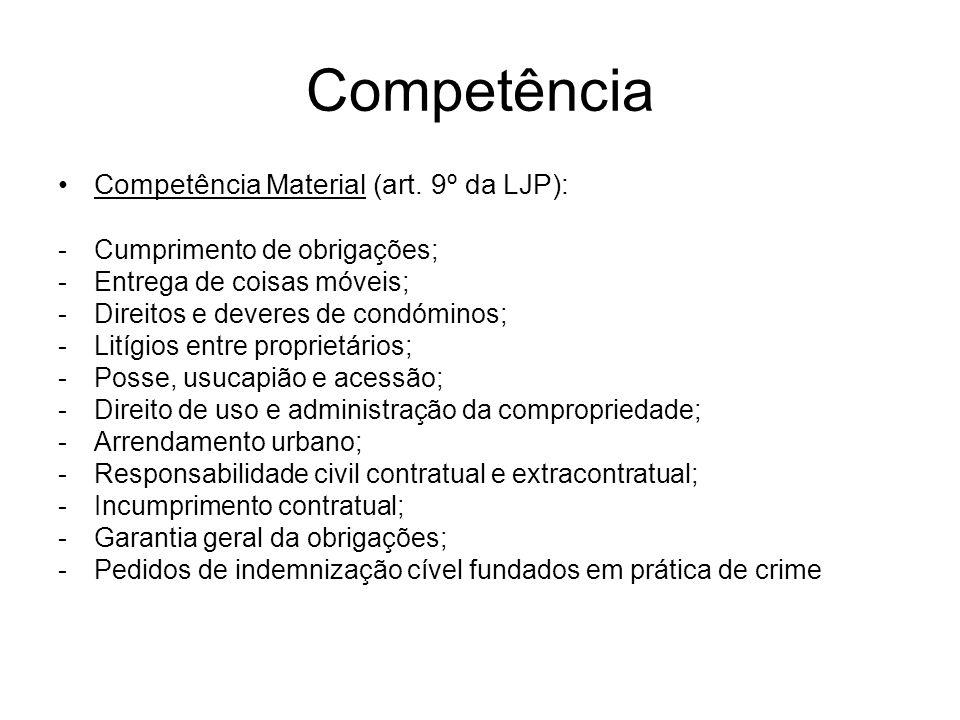 Competência Competência Material (art. 9º da LJP): -Cumprimento de obrigações; -Entrega de coisas móveis; -Direitos e deveres de condóminos; -Litígios