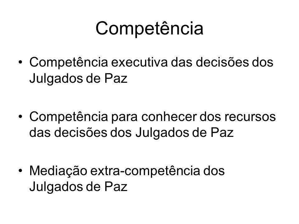 Competência Competência executiva das decisões dos Julgados de Paz Competência para conhecer dos recursos das decisões dos Julgados de Paz Mediação ex