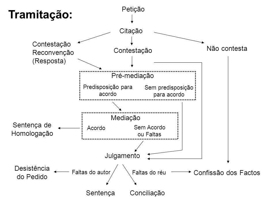 Petição Citação Contestação Contestação Reconvenção (Resposta) Não contesta Pré-mediação Mediação Predisposição para acordo Julgamento Sem predisposiç