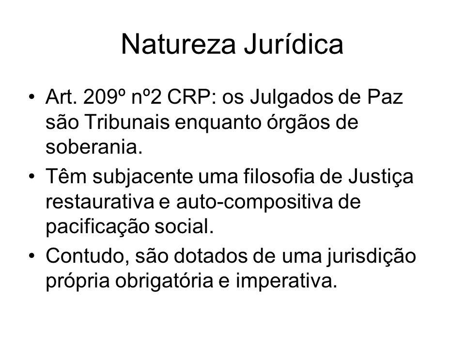 Natureza Jurídica Art. 209º nº2 CRP: os Julgados de Paz são Tribunais enquanto órgãos de soberania. Têm subjacente uma filosofia de Justiça restaurati