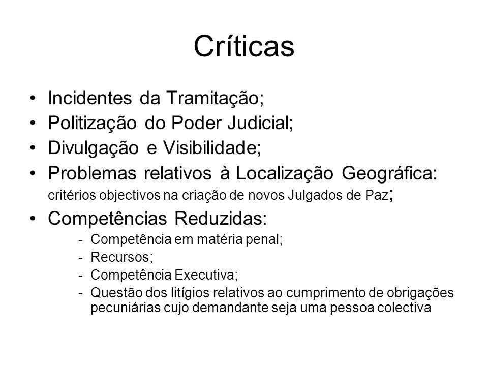 Críticas Incidentes da Tramitação; Politização do Poder Judicial; Divulgação e Visibilidade; Problemas relativos à Localização Geográfica: critérios o