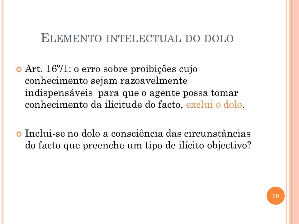 E LEMENTO INTELECTUAL DO DOLO Art. 16º/1: o erro sobre proibições cujo conhecimento sejam razoavelmente indispensáveis para que o agente possa tomar c
