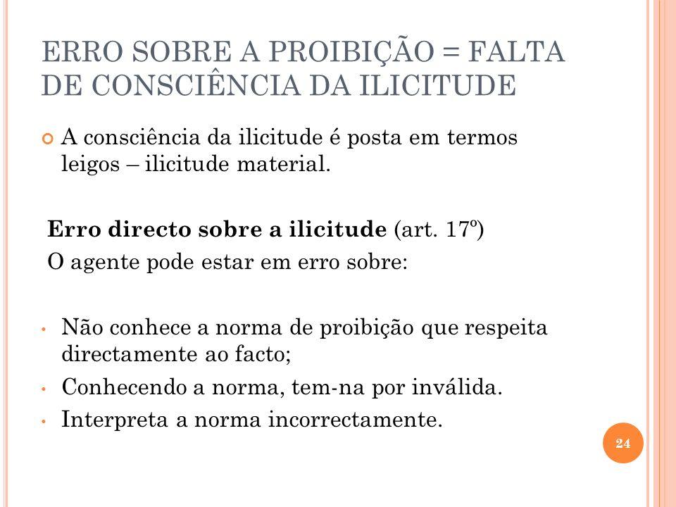 ERRO SOBRE A PROIBIÇÃO = FALTA DE CONSCIÊNCIA DA ILICITUDE A consciência da ilicitude é posta em termos leigos – ilicitude material. Erro directo sobr