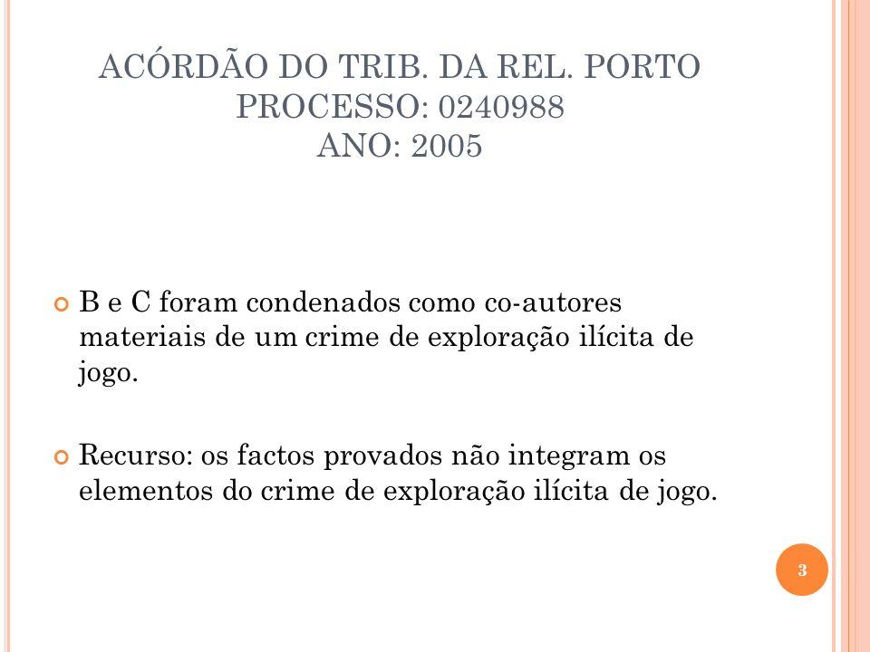 ACÓRDÃO DO TRIB. DA REL. PORTO PROCESSO: 0240988 ANO: 2005 B e C foram condenados como co-autores materiais de um crime de exploração ilícita de jogo.