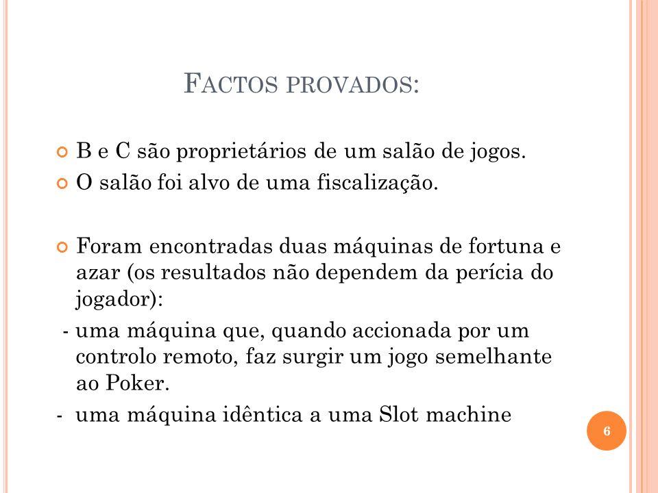 F ACTOS PROVADOS : B e C são proprietários de um salão de jogos. O salão foi alvo de uma fiscalização. Foram encontradas duas máquinas de fortuna e az