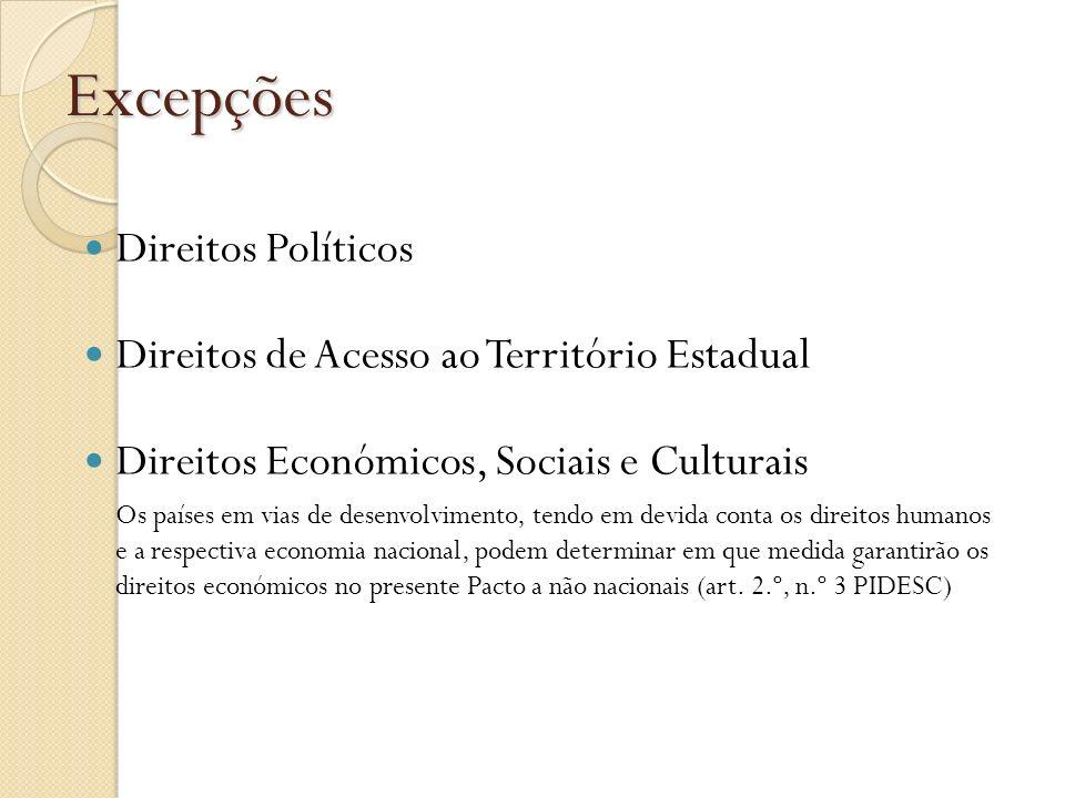 Excepções Direitos Políticos Direitos de Acesso ao Território Estadual Direitos Económicos, Sociais e Culturais Os países em vias de desenvolvimento,