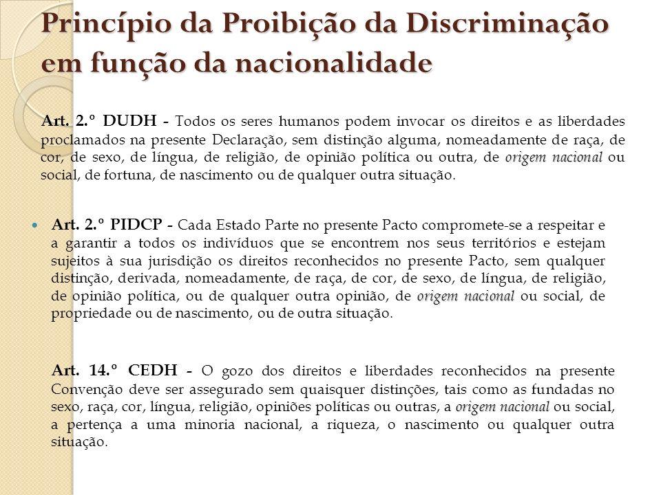 Princípio da Proibição da Discriminação em função da nacionalidade origem nacional Art. 2.º PIDCP - Cada Estado Parte no presente Pacto compromete-se
