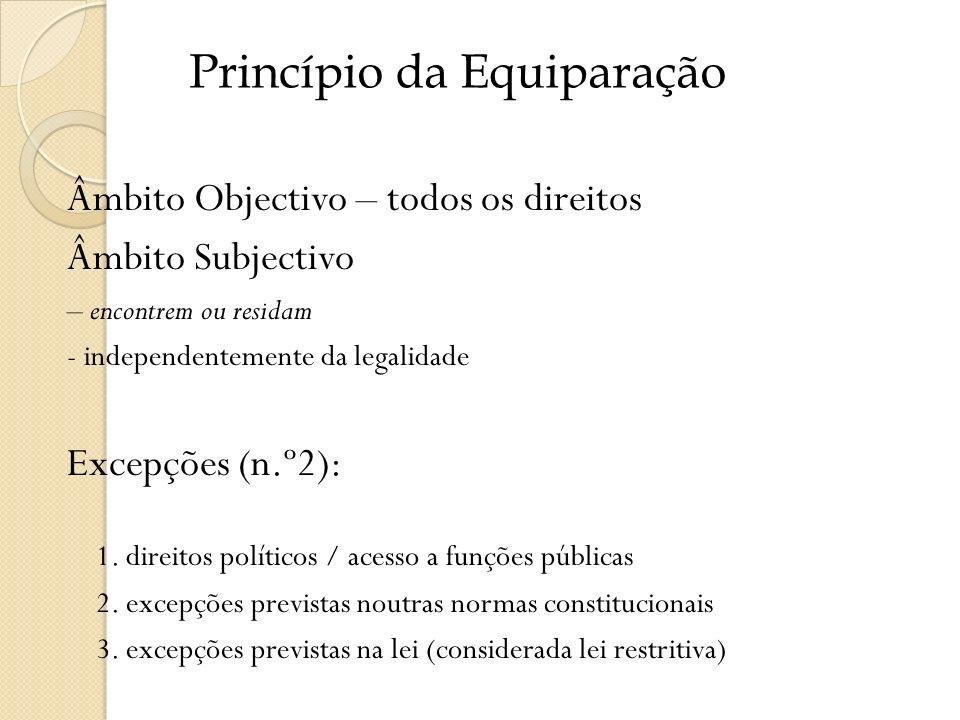 Âmbito Objectivo – todos os direitos Âmbito Subjectivo – encontrem ou residam - independentemente da legalidade Excepções (n.º2): 1. direitos político