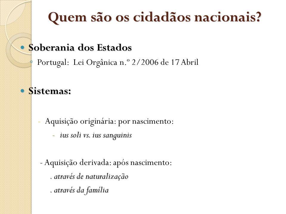 Quem são os cidadãos nacionais? Soberania dos Estados Soberania dos Estados Portugal: Lei Orgânica n.º 2/2006 de 17 Abril Sistemas: Sistemas: -Aquisiç