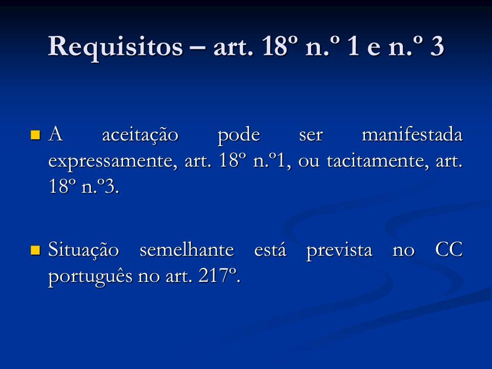 Requisitos – art. 18º n.º 1 e n.º 3 A aceitação pode ser manifestada expressamente, art. 18º n.º1, ou tacitamente, art. 18º n.º3. A aceitação pode ser