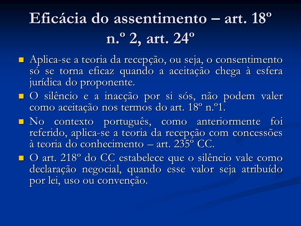 Eficácia do assentimento – art. 18º n.º 2, art. 24º Aplica-se a teoria da recepção, ou seja, o consentimento só se torna eficaz quando a aceitação che