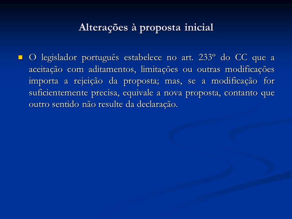 Alterações à proposta inicial O legislador português estabelece no art. 233º do CC que a aceitação com aditamentos, limitações ou outras modificações