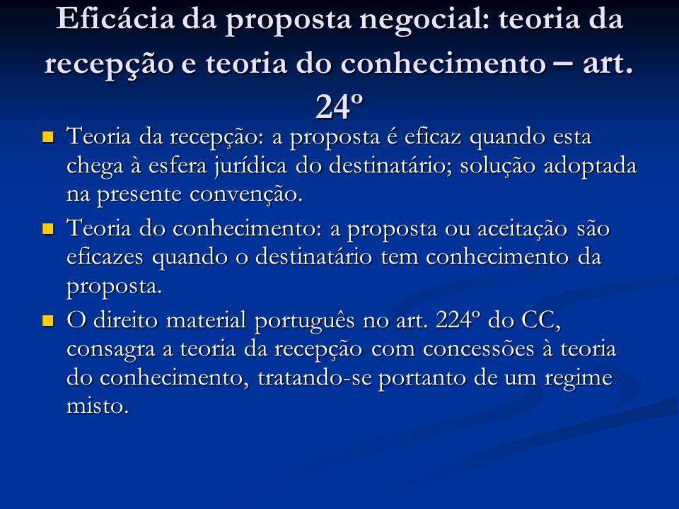 Eficácia da proposta negocial: teoria da recepção e teoria do conhecimento – art. 24º Teoria da recepção: a proposta é eficaz quando esta chega à esfe