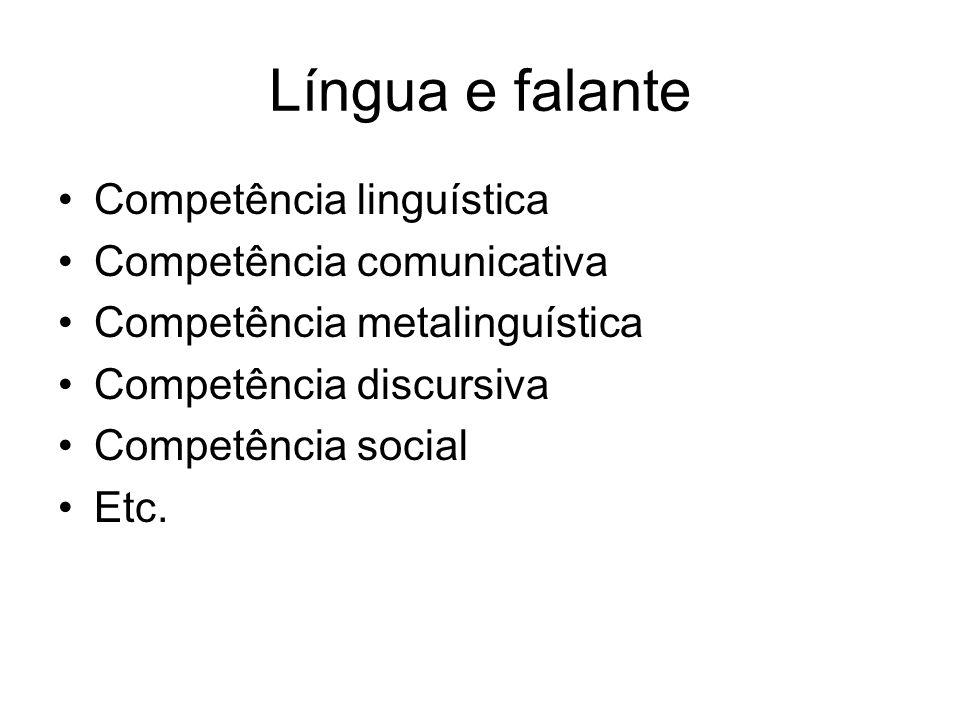 Língua e falante Competência linguística Competência comunicativa Competência metalinguística Competência discursiva Competência social Etc.
