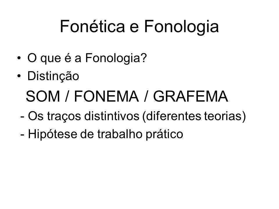Fonética e Fonologia O que é a Fonologia? Distinção SOM / FONEMA / GRAFEMA - Os traços distintivos (diferentes teorias) - Hipótese de trabalho prático