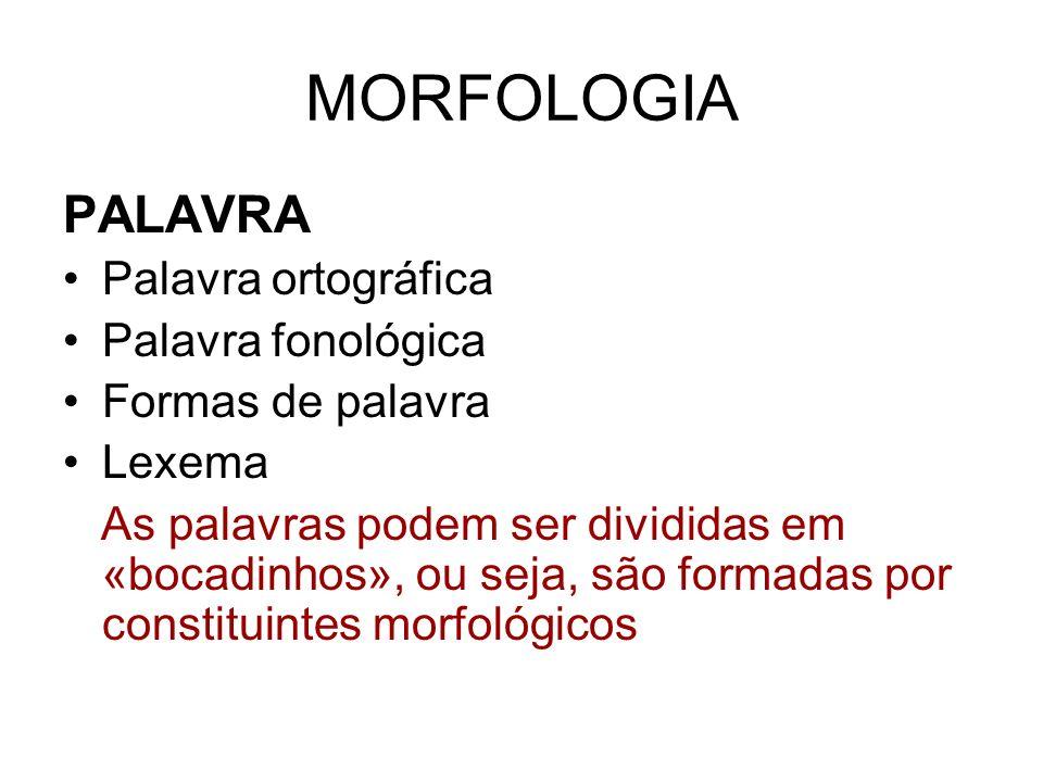 MORFOLOGIA PALAVRA Palavra ortográfica Palavra fonológica Formas de palavra Lexema As palavras podem ser divididas em «bocadinhos», ou seja, são forma