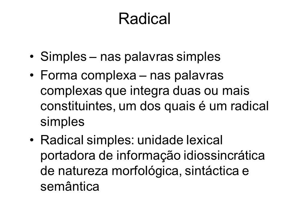 Radical Simples – nas palavras simples Forma complexa – nas palavras complexas que integra duas ou mais constituintes, um dos quais é um radical simpl