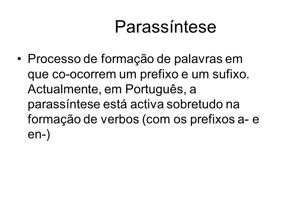 Parassíntese Processo de formação de palavras em que co-ocorrem um prefixo e um sufixo. Actualmente, em Português, a parassíntese está activa sobretud
