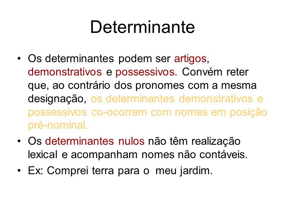Determinante Os determinantes podem ser artigos, demonstrativos e possessivos. Convém reter que, ao contrário dos pronomes com a mesma designação, os