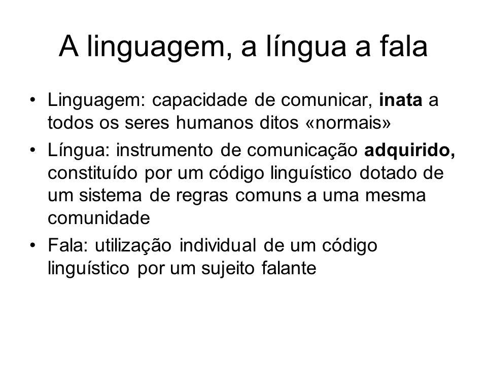 A linguagem, a língua a fala Linguagem: capacidade de comunicar, inata a todos os seres humanos ditos «normais» Língua: instrumento de comunicação adq