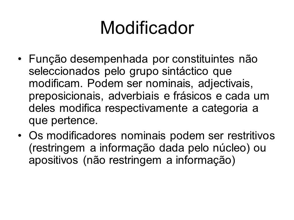 Modificador Função desempenhada por constituintes não seleccionados pelo grupo sintáctico que modificam. Podem ser nominais, adjectivais, preposiciona