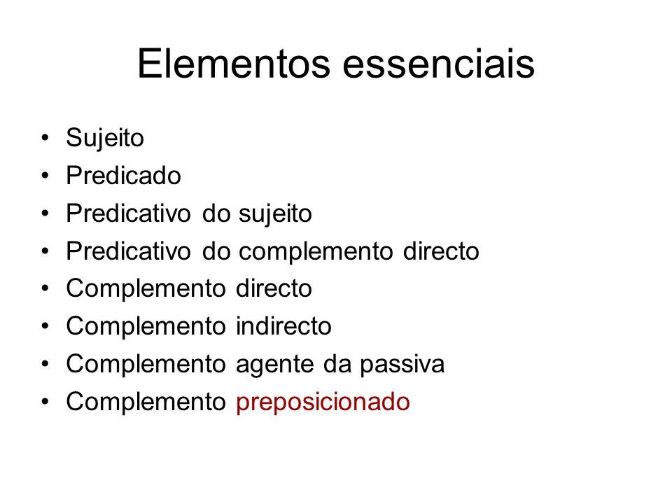 Elementos essenciais Sujeito Predicado Predicativo do sujeito Predicativo do complemento directo Complemento directo Complemento indirecto Complemento