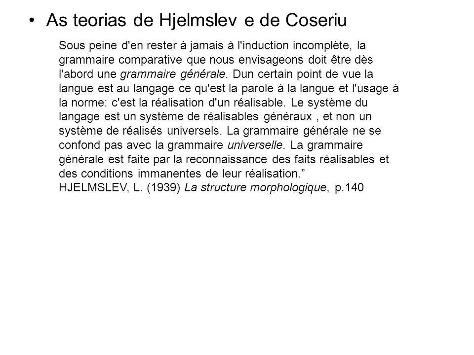 As teorias de Hjelmslev e de Coseriu Sous peine d'en rester à jamais à l'induction incomplète, la grammaire comparative que nous envisageons doit être