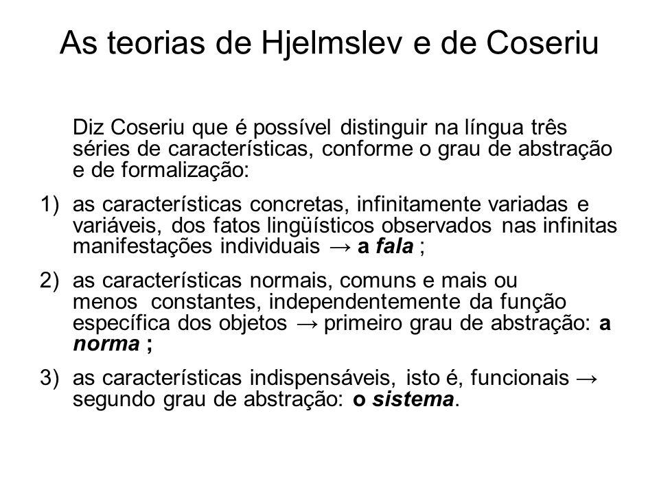 As teorias de Hjelmslev e de Coseriu Diz Coseriu que é possível distinguir na língua três séries de características, conforme o grau de abstração e de