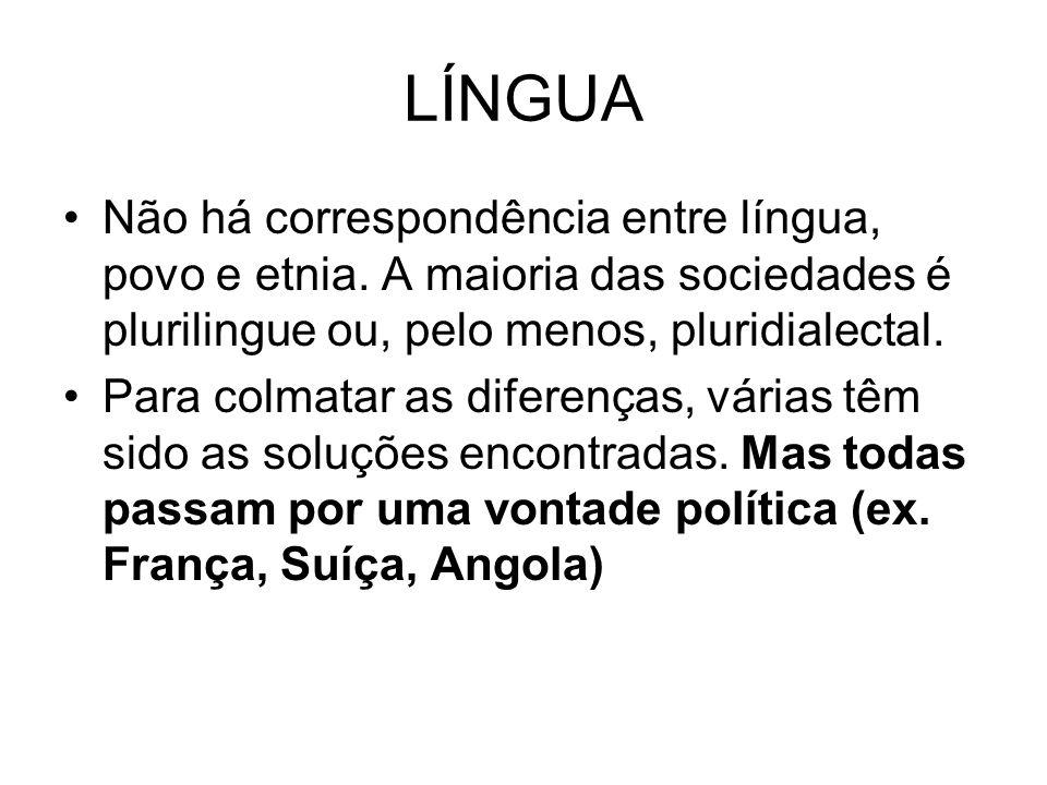 LÍNGUA Não há correspondência entre língua, povo e etnia. A maioria das sociedades é plurilingue ou, pelo menos, pluridialectal. Para colmatar as dife