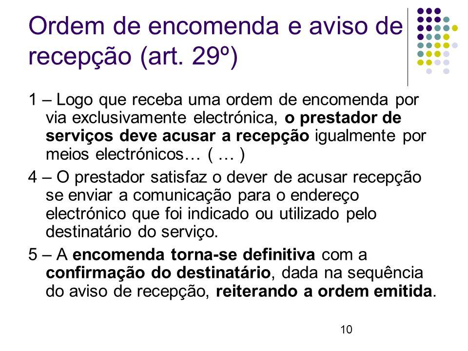 10 Ordem de encomenda e aviso de recepção (art.