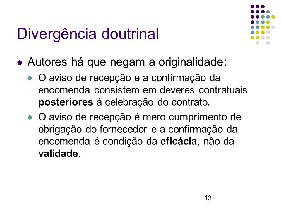 13 Divergência doutrinal Autores há que negam a originalidade: O aviso de recepção e a confirmação da encomenda consistem em deveres contratuais posteriores à celebração do contrato.