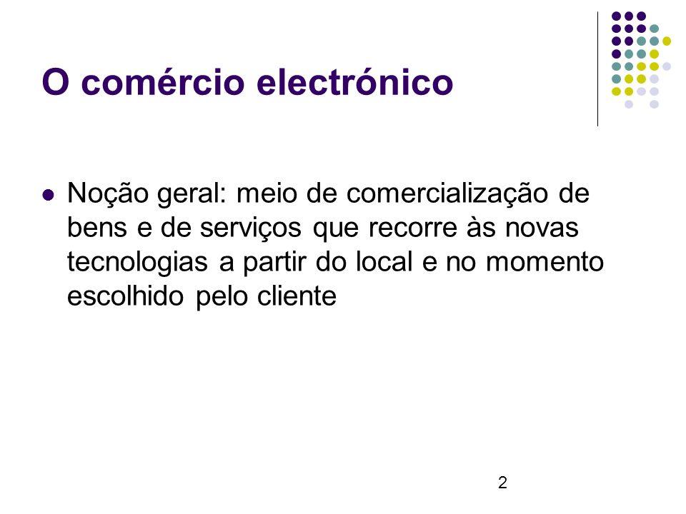 2 O comércio electrónico Noção geral: meio de comercialização de bens e de serviços que recorre às novas tecnologias a partir do local e no momento escolhido pelo cliente