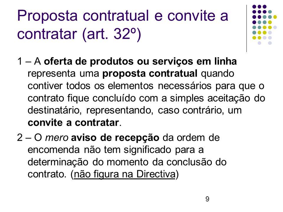 9 Proposta contratual e convite a contratar (art.