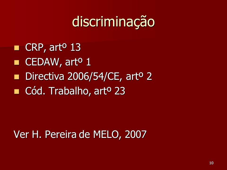 10 discriminação CRP, artº 13 CRP, artº 13 CEDAW, artº 1 CEDAW, artº 1 Directiva 2006/54/CE, artº 2 Directiva 2006/54/CE, artº 2 Cód. Trabalho, artº 2