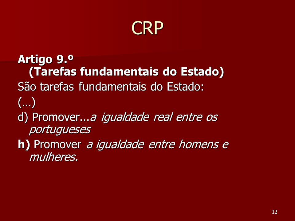 12 CRP Artigo 9.º (Tarefas fundamentais do Estado) São tarefas fundamentais do Estado: (…) d) Promover...a igualdade real entre os portugueses h) Prom