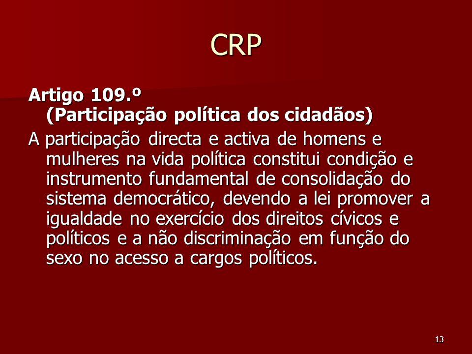 13 CRP Artigo 109.º (Participação política dos cidadãos) A participação directa e activa de homens e mulheres na vida política constitui condição e in