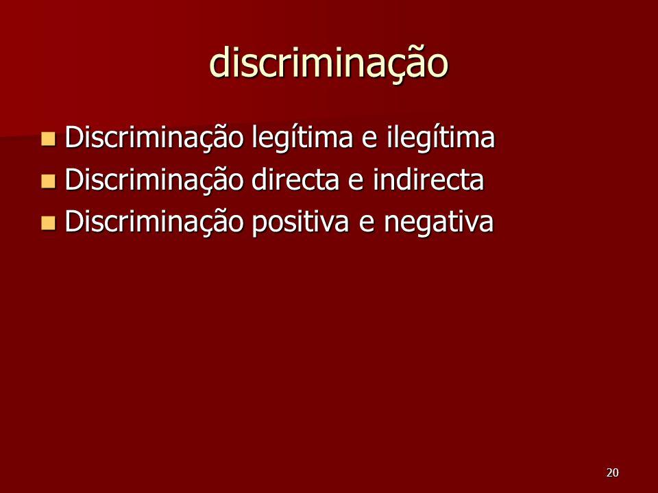 20 discriminação Discriminação legítima e ilegítima Discriminação legítima e ilegítima Discriminação directa e indirecta Discriminação directa e indir