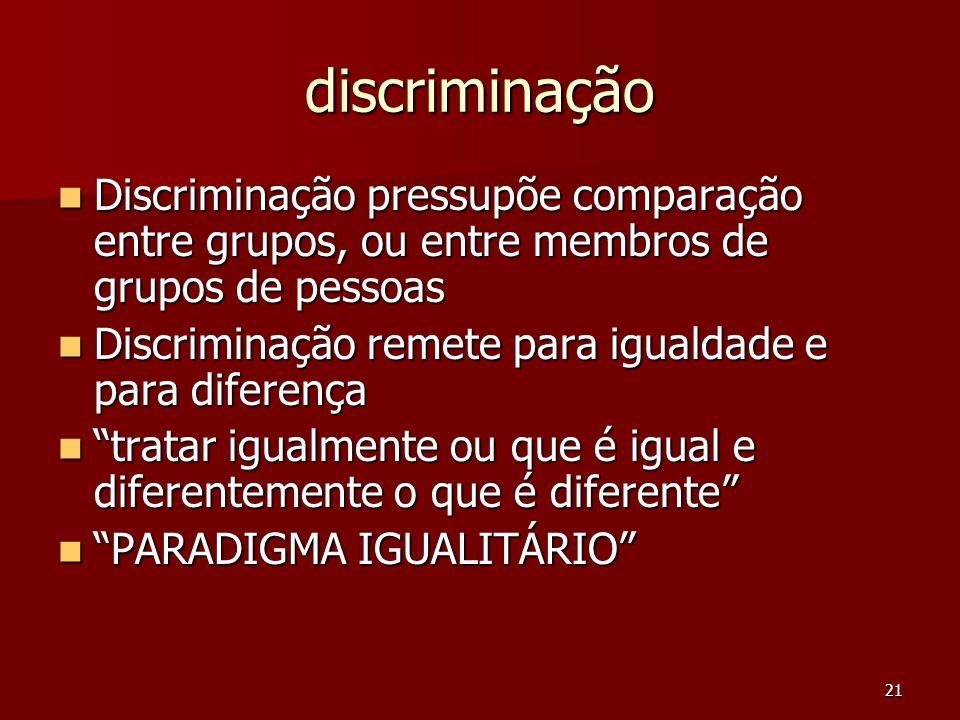 21 discriminação Discriminação pressupõe comparação entre grupos, ou entre membros de grupos de pessoas Discriminação pressupõe comparação entre grupo