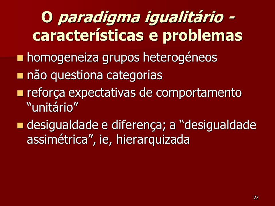 22 O paradigma igualitário - características e problemas homogeneiza grupos heterogéneos homogeneiza grupos heterogéneos não questiona categorias não