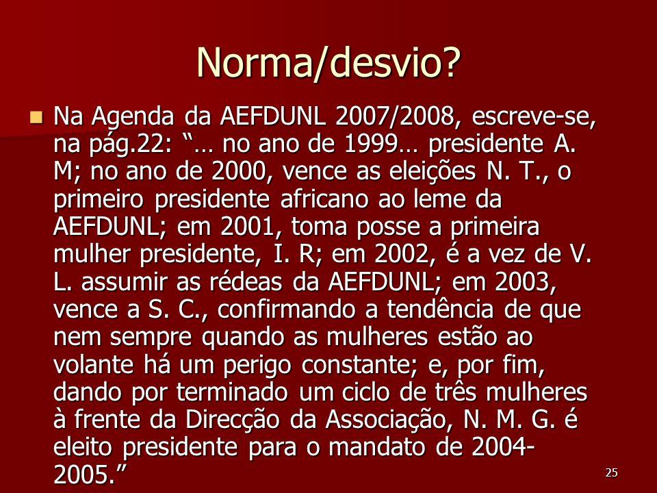 25 Norma/desvio? Na Agenda da AEFDUNL 2007/2008, escreve-se, na pág.22: … no ano de 1999… presidente A. M; no ano de 2000, vence as eleições N. T., o