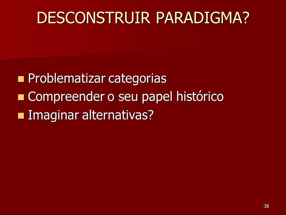 38 DESCONSTRUIR PARADIGMA? Problematizar categorias Problematizar categorias Compreender o seu papel histórico Compreender o seu papel histórico Imagi