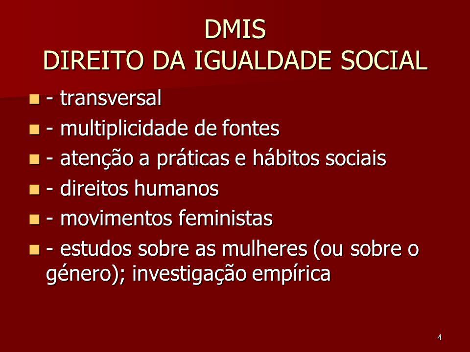 4 DMIS DIREITO DA IGUALDADE SOCIAL - transversal - transversal - multiplicidade de fontes - multiplicidade de fontes - atenção a práticas e hábitos so